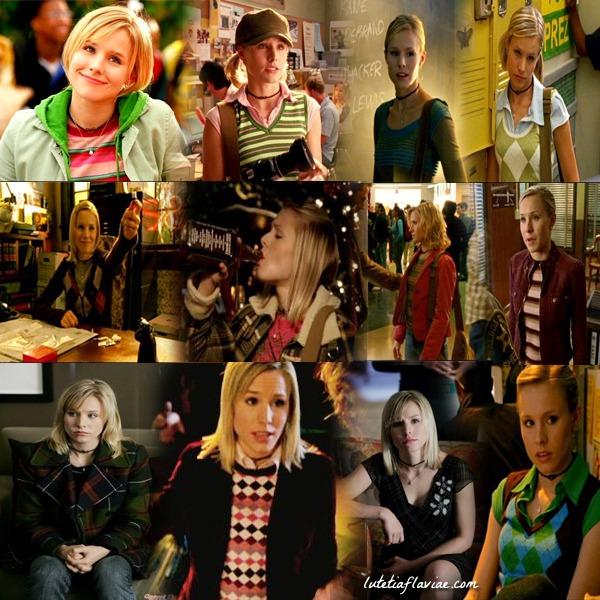 Montage du meilleur de la mode dans la saison 1 de Veronica Mars avec des rayures et des losanges, du vert et du rose sur lutetiaflaviae.com