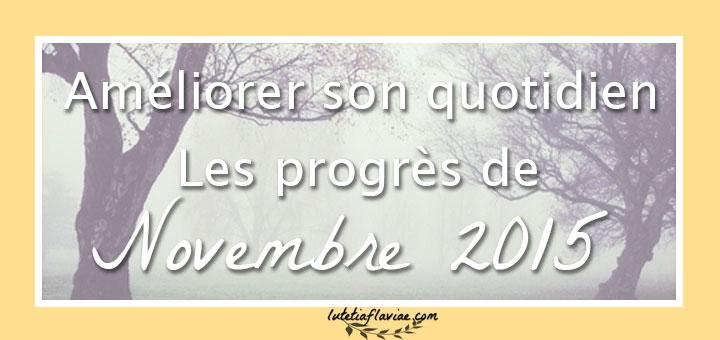 Apprendre comment améliorer son quotidien : mes progrès du mois de novembre 2015 sur lutetiaflaviae.com