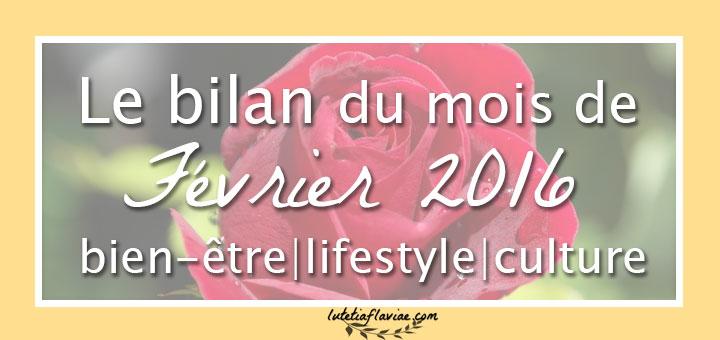 Mon bilan bien-être, lifestyle et culture du mois de Février 2016 ! Découvrez mes progrès pour améliorer le quotidien sur lutetiaflaviae.com