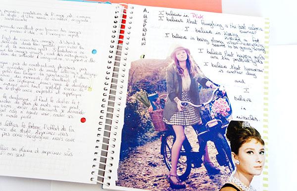 Mon carnet d'inspiration où j'écris des citations et j'y fais des collages de photos découpées dans les magazines sur lutetiaflaviae.com