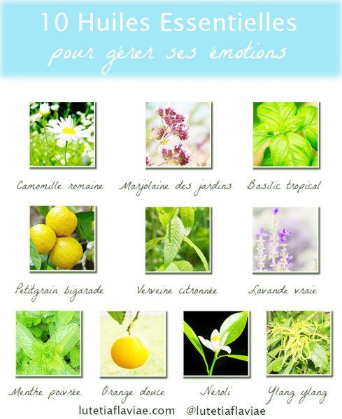 Infographie des dix meilleures huiles essentielles relaxantes pour gérer ses émotions au quotidien. Téléchargez-la sur lutetiaflaviae.com !
