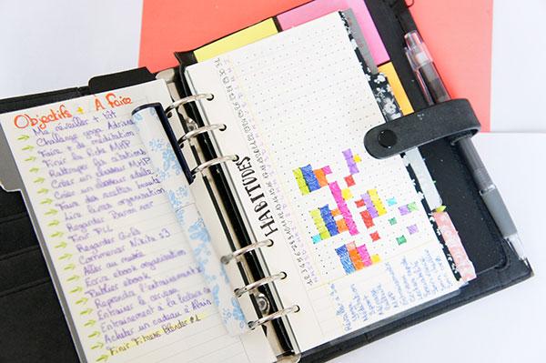 Mon organiseur où j'inclus une liste d'objectifs et un tableau d'habitudes à découvrir sur lutetiaflaviae.com