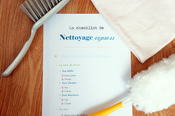 Ma checklist de nettoyage express pour faire le ménage de printemps et faciliter son organisation maison ! Téléchargez-la gratuitement sur lutetiaflaviae.com