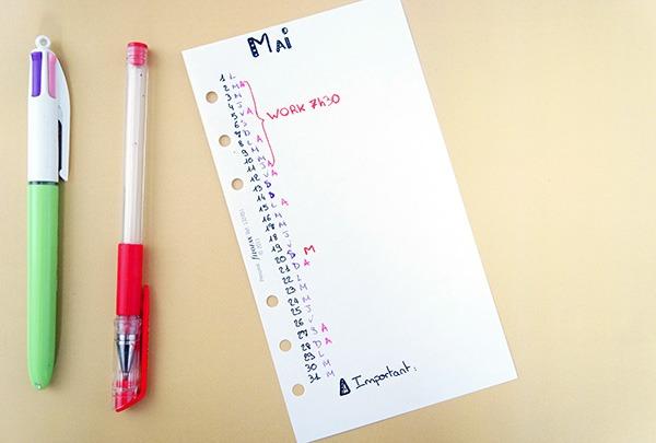Une page mensuelle de mon agenda pour montrer comment s'organiser au quotidien sur lutetiaflaviae.com