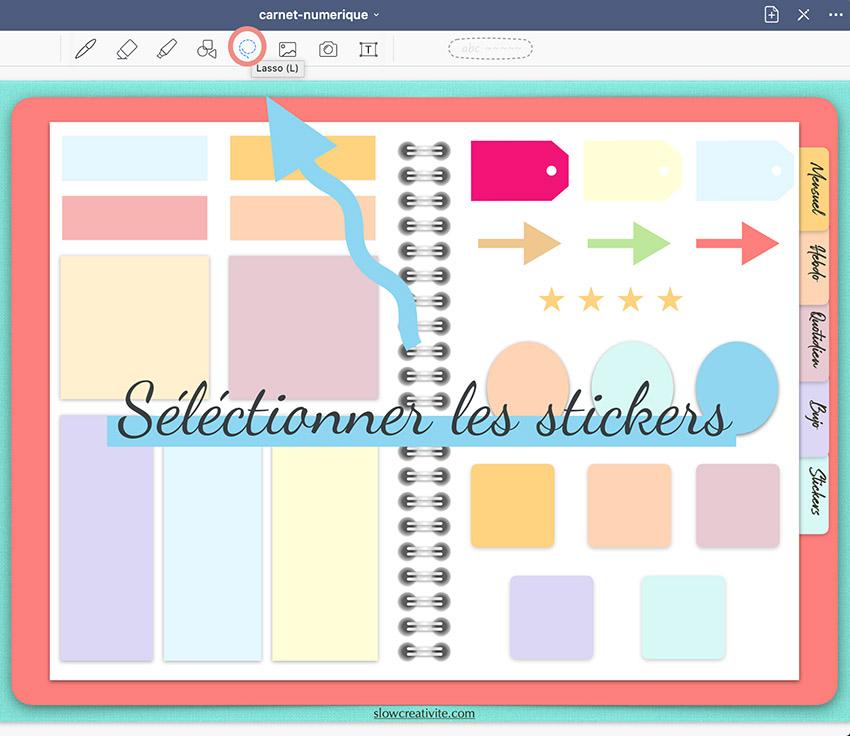Comment utiliser des stickers sur son carnet numérique pour colorer son planning digital. Découvrez le tuto et téléchargez gratuitement un digital planner sur slowcreativite.com