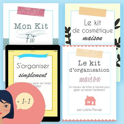 Le Pack Organisation comprend une méthode d'organisation pour s'organiser simplement, 3 kits à imprimer pour la maison, le sport et la cosmétique maison ainsi qu'une séance de coaching de 90 minutes sur slowcreativite.com