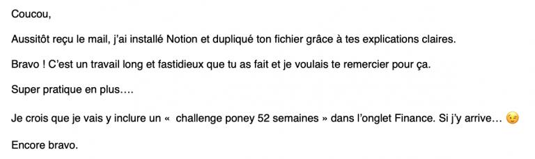 Témoignage d'une cliente ayant téléchargé le template français pour l'app Notion, l'outil de gestion de projet gratuit